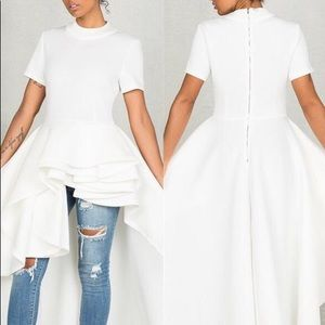 Short sleeve Flounce high low dress in white
